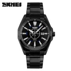 Spesifikasi Skmei 9118 Pria Watches 50 M Tahan Air Tanggal Jam Steel Strap Casual Pria Jam Kuarsa Hitam Hitam Terbaru