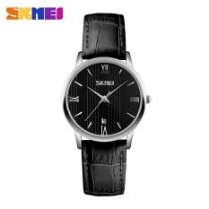 SKMEI 9130 Beberapa Pecinta Wanita Watch Tahan Air QUARTZ Leather Watch Black Silver-Intl