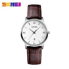 SKMEI 9130 Pasangan Model Watch Tren Tahan Air Sabuk QUARTZ Jam Tangan Wanita Plus Warna-Jarum Perak-Intl