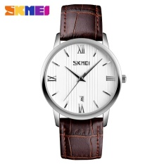 SKMEI 9130 Pasangan Model Watch Tren Tahan Air Sabuk QUARTZ Jam Tangan Pria Plus Warna-Jarum Perak-Intl