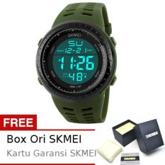 SKMEI Army Hijau - Jam Tangan Pria  - Tali Karet - Army 1167 Green Edition + Free BOX ORI SKMEI
