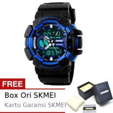 SKMEI Boxer Hitam Biru - Jam Tangan Pria - Strap Karet - 1117 Sport Black Blue + Free BOX ORI SKMEI