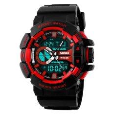 Jual Skmei Boxer Hitam Merah Jam Tangan Pria Strap Karet 1117 Sport Black Red Free Box Jam Tangan Flash Ori