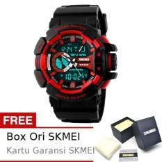 SKMEI Boxer Hitam Merah - Jam Tangan Pria - Strap Karet - 1117 Sport Black Red + Free BOX ORI SKMEI