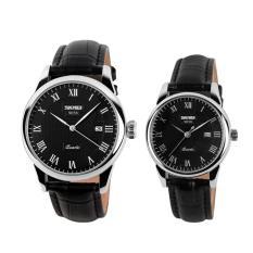 Harga Skmei Merek 9058 Nya Dan Miliknya Watches Fashion Casual Watches Leather Strap 30 M Waterproof Pecinta Kuarsa Jam Tangan Hitam Putih Hitam Di Tiongkok