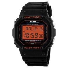 Skmei Merek Jam Tangan Pria LED Digital Watch Black Pu Watchband Dive 50 M Fashion Outdoor Jam Tangan Olahraga 1134 (hitam Orange) -Intl