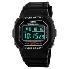 Skmei Merek Jam Tangan Pria Led Digital Watch Black Pu Watchband Dive 50 M Fashion Outdoor Jam Tangan Olahraga 1134 Hitam Putih Intl Asli