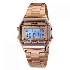 SKMEI Casio Digital Casual Men Stainless Strap Watch Anti Air Water Resistant WR 30m DG1123 Jam Tangan Pria Formal Kerja Tali Besi Fashion Accessories - Rose Gold