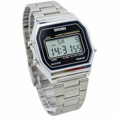 SKMEI Casio Digital Casual Men Stainless Strap Watch Anti Air Water Resistant WR 30m DG1123 Jam Tangan Pria Formal Tali Besi - Silver
