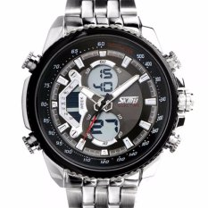 SKMEI Dual Time Men Sport LED Watch Anti Air Water Resistant WR 30m AD0993 Jam Tangan Pria Tali Steel Besi Digital Analog Wristwatch Fashion Sporty Desain - Silver Hitam