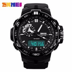 Harga Skmei Dual Time Men Sport Led Watch Anti Air Water Resistant Wr 30M Ad1081 Jam Tangan Pria Tali Strap Karet Silicone Digital Analog Wristwatch Fashion Sporty Desain Hitam Seken