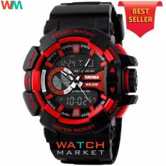 SKMEI Casio Dual Time Men Sport LED Watch Anti Air Water Resistant WR 50m AD1117 Jam Tangan Pria Tali Strap Karet Digital Alarm Wristwatch Wrist Watch Fashion Accessories Stylish Trendy Model Baru Sporty Design - Hitam Merah