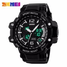 SKMEI Dual Time Men Sport LED Watch Anti Air Water Resistant WR 50m AD1137 Jam Tangan Pria Tali Strap Karet Digital Alarm Wristwatch Wrist Watch Fashion Accessories Stylish Trendy Model Baru Sporty Design - Hitam Putih