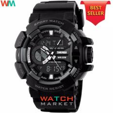 SKMEI Casio Dual Time Men Sport LED Watch Anti Air Water Resistant WR 50m AD1117 Jam Tangan Pria Tali Strap Karet Digital Alarm Wristwatch Wrist Watch Fashion Accessories Stylish Trendy Model Baru Sporty Design - Hitam