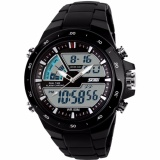 Top 10 Skmei Men Dual Time Digital Sport Led Ring Ad1016 Watch Water Resistant Wr 50M Jam Tangan Pria Strap Mika Pu Casual Fashion Wristwatch K054 Hitam Online