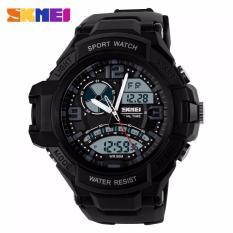SKMEI Men Sport LED AD1017 Water Resistant 50m Anti Air WR 50m Dual Time Digital Analog Rider Watch - Hitam