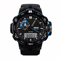 SKMEI Casio Men Sport LED Watch Jam Tangan Sport Water Resistant 50m AD1081 - Hitam Biru