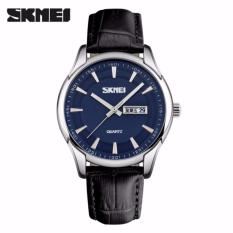 Jual Skmei Casual Men Analog Watch 9125Cs Water Resistant Anti Air Wr 30M Jam Tangan Pria Tali Strap Kulit Leather Wristwatch Wrist Watch Stylish Formal Elegan Design Hitam Biru Skmei Original