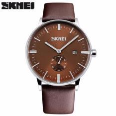 Harga Skmei Casual Men Leather Strap Watch Water Resistant 30M 9083Cl Jam Tangan Pria Kualitas Original Garansi 1 Bulan Coklat Origin