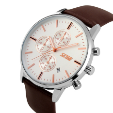 Beli Skmei Casual Men Leather Strap Watch Water Resistant 30M 9103Cl Online