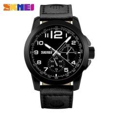 Harga Skmei Casual Men Leather Strap Watch Water Resistant 30M 9111Cl Hitam Satu Set