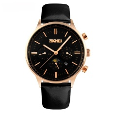Toko Skmei Casual Men Leather Strap Watch Water Resistant 30M 9117 Hitam Gold Skmei