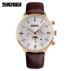 Beli Skmei Casual Men Leather Strap Watch Water Resistant 30M 9117Cl Secara Angsuran