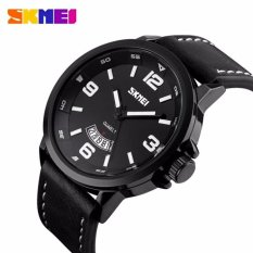 Beli Skmei Casual Men Leather Strap Watch Water Resistant Anti Air Wr 30M 9115Cl Tanggal Date Jam Tangan Pria Tali Strap Kulit Wrist Watch Stylish Formal Elegan Watch Hitam Dengan Kartu Kredit