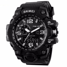 SKMEI Casual Men Rubber Strap Watch Water Resistant Anti Air WR 50m AD1155 Dual Time Jam Tangan Pria Strap Tali Karet Silicone Wristwatch Wrist Watch Sporty Fashion Accessories Trendy Model Baru - Hitam Putih