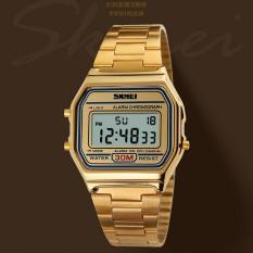 SKMEI Casio Men Women Stainless Strap Watch Water Resistant 30m - Golden
