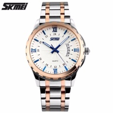 Jual Skmei Casual Men Strap Watch 9069Cs Water Resistant Anti Air Wr 30M Jam Tangan Pria Tali Strap Steel Wristwatch Wrist Watch Stylish Formal Elegan Design Silver Gold Biru Skmei Online