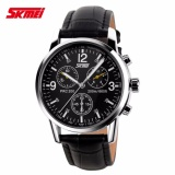 Toko Skmei Casual Men Strap Watch 9070Cl Water Resistant Anti Air Wr 30M Jam Tangan Pria Tali Kulit Wristwatch Wrist Watch Stylish Hitam Online Terpercaya