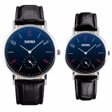 Skmei Casual Men Women Leather Strap Watch 9120Cl Water Resistant Anti Air Wr 30M Jam Tangan Couple Pasangan Strap Tali Kulit Elegant Formal Kerja Macho Design Wristwatch Hitam Terbaru