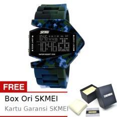 SKMEI Combat Army Biru - Jam Tangan Pria - Strap Karet - 0817 Army Blue Edition + Free BOX ORI SKMEI
