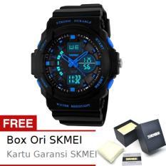 SKMEI Commander Hitam Biru - Jam Tangan Pria - Strap Karet - 0955 Sport Black Blue + Free BOX ORI SKMEI