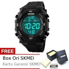 SKMEI Diesel Full Hitam - Jam Tangan Pria - Strap Karet - 1130 Sport Black + Free BOX ORI SKMEI
