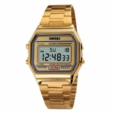 Harga Skmei Digital Casual Men Stainless Strap Watch Anti Air Water Resistant Wr 30M Dg1123 Jam Tangan Pria Formal Kerja Tali Besi Fashion Accessories Gold Branded