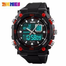 SKMEI Dual Time Casio Men Sport LED Anti Air Water Resistant WR 50m AD1092 Jam Tangan Pria Tali Karet Digital Analog Alarm Wristwatch Wrist Watch Fashion Sporty Design - Hitam Merah