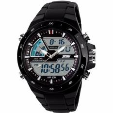 Diskon Skmei Dual Time Ad1016 Jam Tangan Pria Digital Ring Watch Water Resistant Anti Air 50M Strap Mika Hitam Akhir Tahun