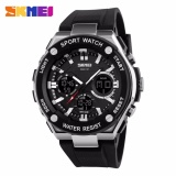 Skmei Dual Time Men Sport Led Watch Anti Air Water Resistant 50M Ad1187 Jam Tangan Pria Tali Karet Digital Analog Alarm Wrist Watch Garansi 1 Bulan Hitam Silver Diskon Jawa Barat