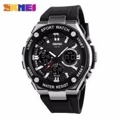 SKMEI Dual Time Men Sport LED Watch Anti Air Water Resistant 50m AD1187 / Jam Tangan Pria Tali Karet Digital Analog Alarm Wrist Watch Garansi 1 Bulan - Hitam Silver