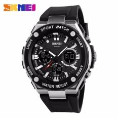 SKMEI Dual Time Men Sport LED Watch Anti Air Water Resistant WR 50m AD1187 Jam Tangan Pria Tali Strap Karet Digital Analog Alarm Wristwatch Wrist Watch Fashion Accessories Stylish Trendy Model Baru Sporty Design - Hitam Putih
