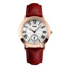 Beli Skmei Fashion Casual Ladies Leather Strap Watch Water Resistant 30M 1083Cl Merah Online Terpercaya