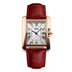 Harga Skmei Fashion Casual Ladies Leather Strap Watch Water Resistant 30M 1085Cl Merah Yang Bagus