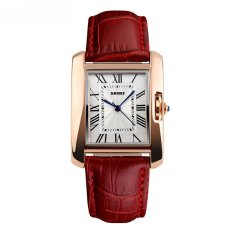 Obral Skmei Fashion Casual Ladies Leather Strap Watch Water Resistant 30M 1085Cl Merah Murah