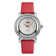 Beli Skmei Female Merah Jam Tangan Wanita Tali Kulit 9093 Fashion Red Free Box Jam Tangan Flash Pake Kartu Kredit