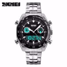 SKMEI Force Hitam - Jam Tangan Pria - Rantai Stainless Steel - 1204 Elegant Black + Free Box Jam Tangan Flash