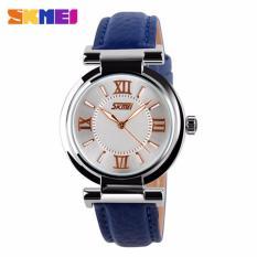 Harga Skmei Fragrant Biru Jam Tangan Wanita Tali Kulit 9075 Fashion Blue Free Box Jam Tangan Flash Asli
