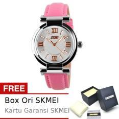 SKMEI Fragrant Pink - Jam Tangan Wanita - Tali Kulit - 9075 Fashion Pink + Free BOX ORI SKMEI