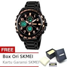 SKMEI Glamour Emas - Jam Tangan Pria - Rantai Stainless Steel - 1021 Elegant Gold + Free BOX ORI SKMEI